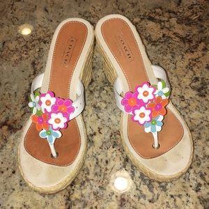 "Coach ""Jessica"" white patent wedge sandal 7.5M"